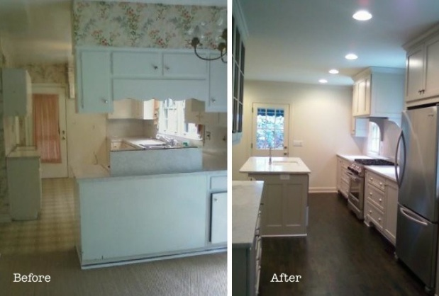 A picture of a kitchen before and after, benefitting from the work of Cottage Industry Construction.