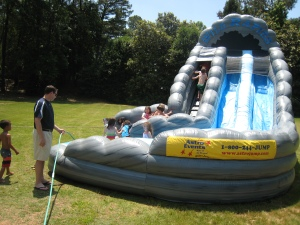 At The Cochise Club for Labor Day, we had a really fun inflatable water slide.