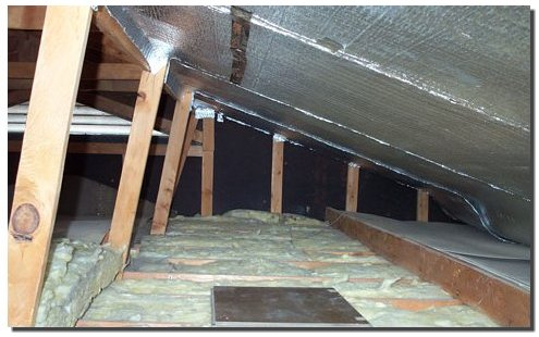 Radiant barriers in an attic.