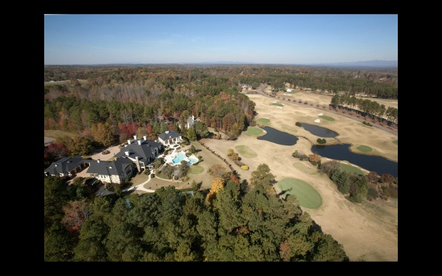 An aerial view of 811 Hawks Nest Court.  Listed for sale by Tina Hunsicker of Atlanta Fine Homes Sotheby's International Realty. Offered at $9.8 million.