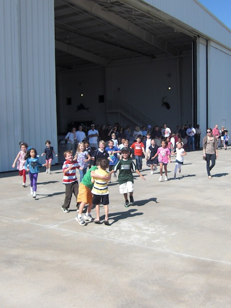Chase landed after his helicopter ride just like a rock star for his seventh birthday party at an airplane hangar.