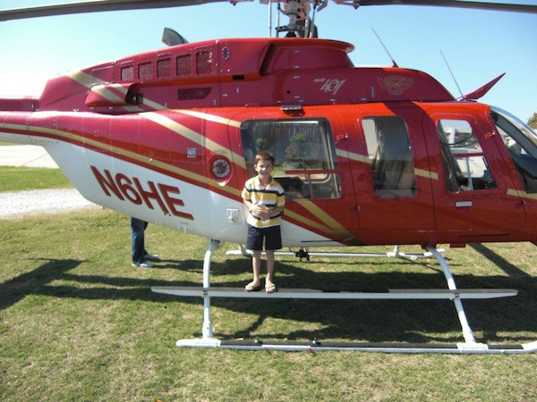 Chase enjoying the helicopter ride he had for his seventh birthday.