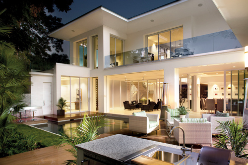 """Why is the Modern style so appealing? Easy, functional and bright, with walls of glass and open spaces, today's modern is eco-sensitive and forward thinking, with state of the art kitchens and """"smart house"""" technologies, though developers often prefer modern interiors with more traditional skins."""