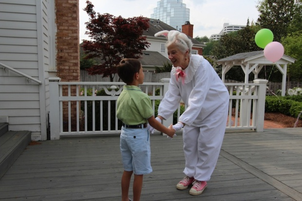 A special interlude with Betty Ann Wylie, Atlanta storyteller turned Easter Bunny and my son.