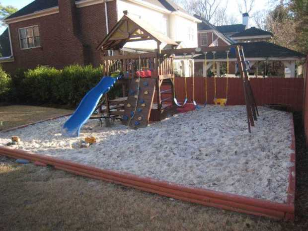 A flat, fenced in backyard is the perfect setting for outdoor play.