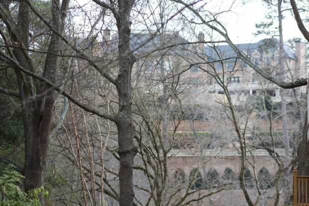 A snapshot I took through the trees looking onto the back of the property that overlooks the Chattahoochee into Vinings.  The estate is said to have every amenity, even it's own parking garage (yes, I said GARAGE!).