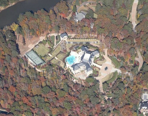 An aerial shot of the most expensive home for sale in Atlanta in 2013.  It's on over 10 acres with an incredible view of the Chattahoochee River.  $28M   Image: Google Earth.
