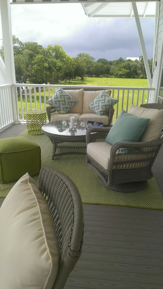 There are multiple areas for enjoying the outdoors in the Showhouse. I can't decide which one is my favorite. :)
