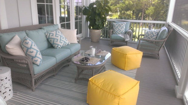 How relaxing is this!  It's another outdoor living space, in a screened in environment.