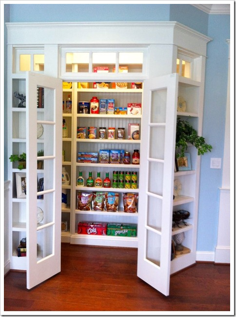I like this one because it is so well lit!  The shelves area a foot deep and I would probably use frosted glass. I love how everything is so accessible!
