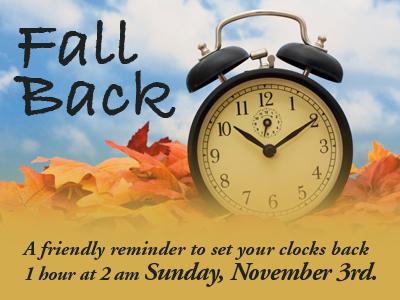 Don't forget – Time change on November 3!