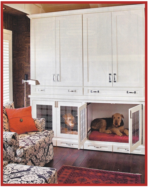 Fantastic! Built-in dog crates like these at TheEnglishRoom.biz