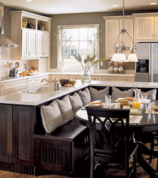 Built-in breakfast nook for seating and storage photo credit: elledecor.com