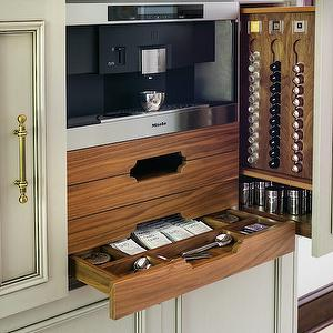 This beautiful built-in coffee systems keeps everything in one place.  photo credit: Atlanta Homes & Lifestyles